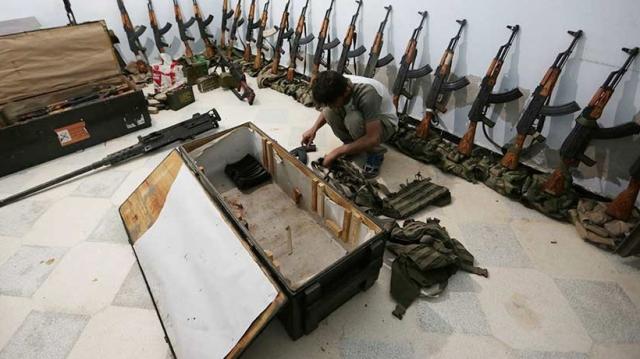 Armas halladas por el Ejército Sirio.