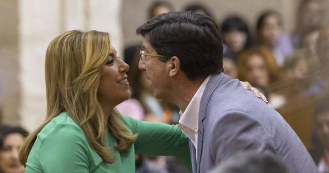 Susana Díaz y Juan Marín, líder de Ciudadanos en Andalucía.