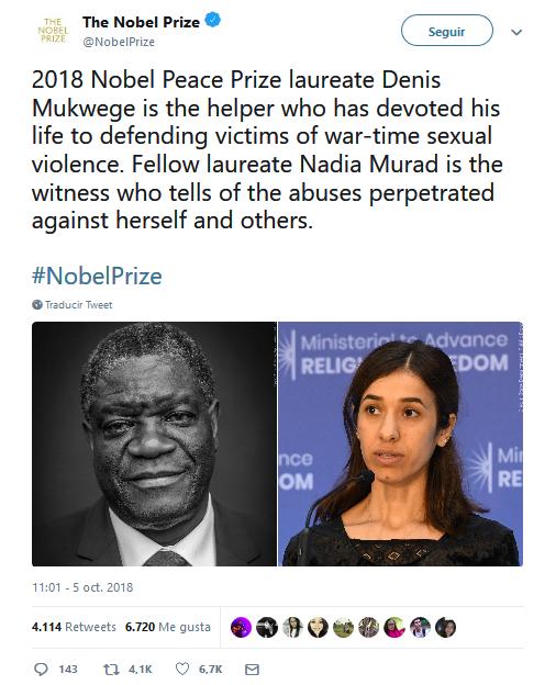 Denis Mukwege y Nadia Murad distinguidos con el Nobel de la Paz